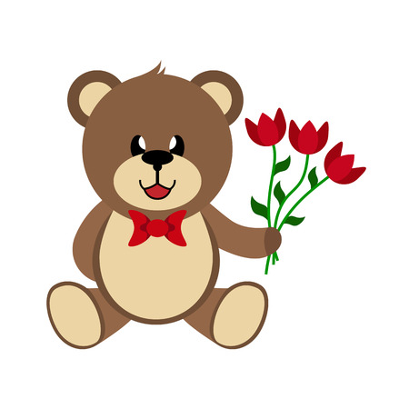 Bear with a bouquet of flowers, hand-drawn children's toy, a simple color image Archivio Fotografico - 113902397