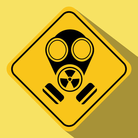 Simple drawing of a sign with the image of a gas mask, long shadow