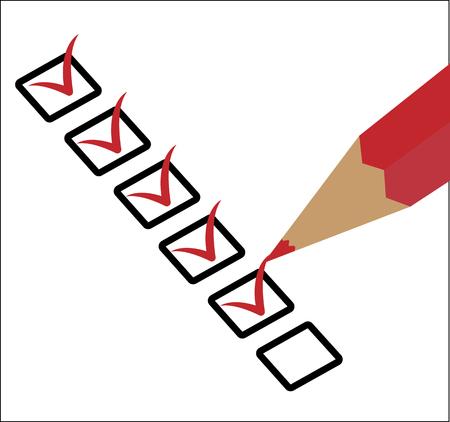 Red pencil draws check marks in squares. Ilustração Vetorial