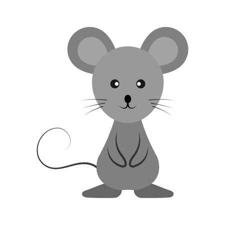 Gray mouse cartoon, simple drawing, animal Vetores