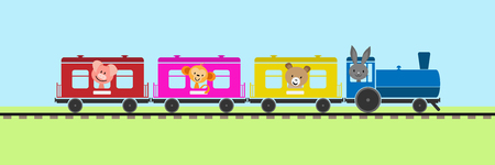 Simple colored children's train with cars and steam locomotive carrying animals Foto de archivo - 118406433