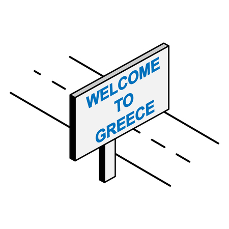Billboard near the road that says Welcome to Greece