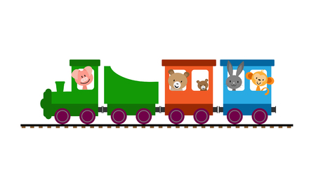 Simple colored children's train with cars and steam locomotive carrying animals Foto de archivo - 118406491