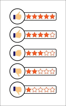 set van eenvoudige karakters van één tot vijf sterren Vector Illustratie
