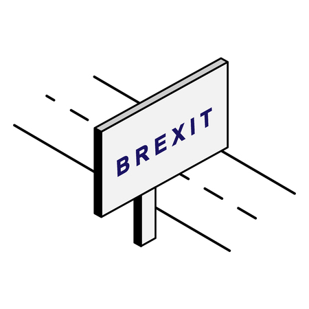 Billboard on the road with the inscription Brexit Illustration