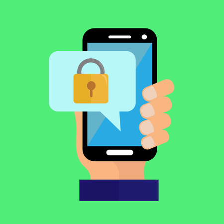 hand holds the smartphone, access to the functions of the smartphone is blocked Ilustracja