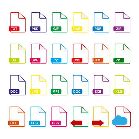 Set of 24 file icons, flat simple illustration  イラスト・ベクター素材