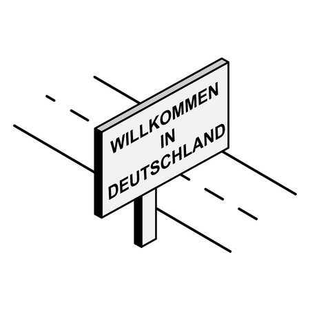 Billboard on the road with the inscription welcome to Germany, German language Archivio Fotografico - 118406580