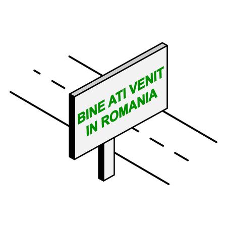 Billboard by the road with the inscription welcome to Romania, Romanian language Archivio Fotografico - 118406623