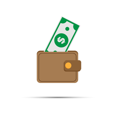 simple drawing of a purse with a bill sticking out Çizim