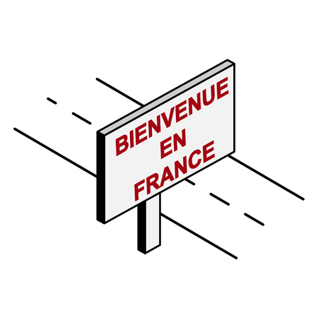 Billboard near the road that says Welcome to France, the French language Archivio Fotografico - 118406657