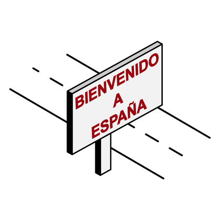 Billboard on the road with the inscription welcome to Spain, Spanish language Archivio Fotografico - 118406680