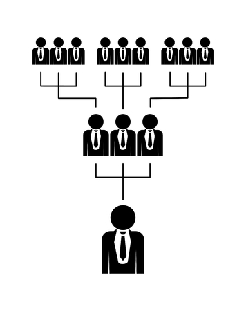 Career advancement in a business team or financial pyramid