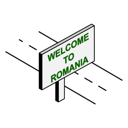Billboard on the road with the inscription welcome to Romania Archivio Fotografico - 118406831