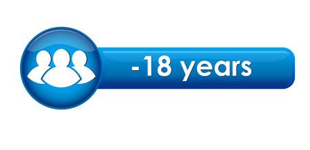 Schaltfläche mit der Altersgrenze -18 Jahre und Symbol Vektorgrafik