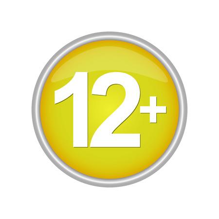 Runder farbiger Knopf beschriftet mit einer Altersbeschränkung 12+