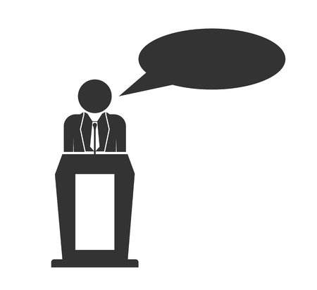 Silhouette of a man behind the podium with a cloud for speech Illustration