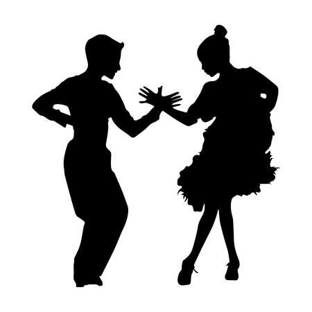 Black silhouette of dancing couple on white background Illustration