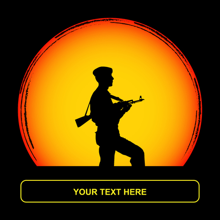 Soldier with a gun on the background of a yellow sun disc Illustration