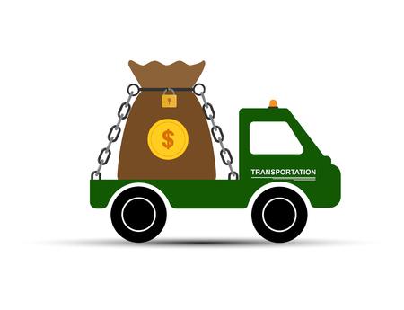car carries a bag of money, simple drawing Ilustração