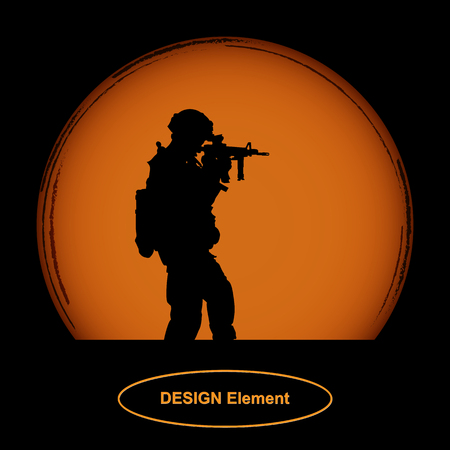 soldier with a gun looks into the scope against the orange disc of the sun