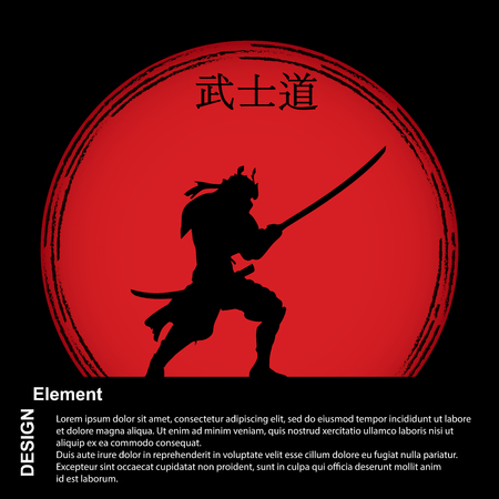 Samurai with a sword on the background of a red disc with a hieroglyph Bushido, Japanese language. Bushido - Samurai Code