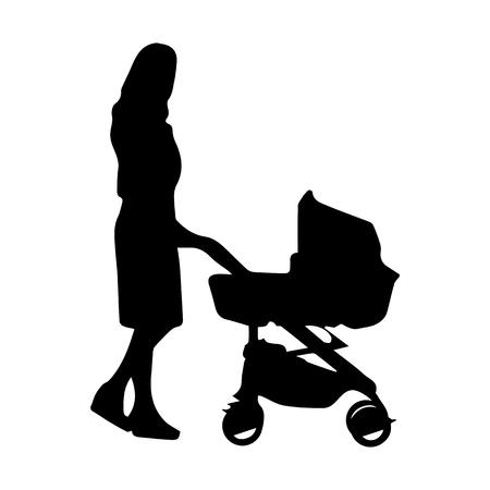 Femme avec un landau, dessin de silhouette simple