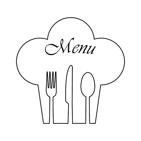 Chef's hat with Cutlery and Menu inscription, simple image Illustration