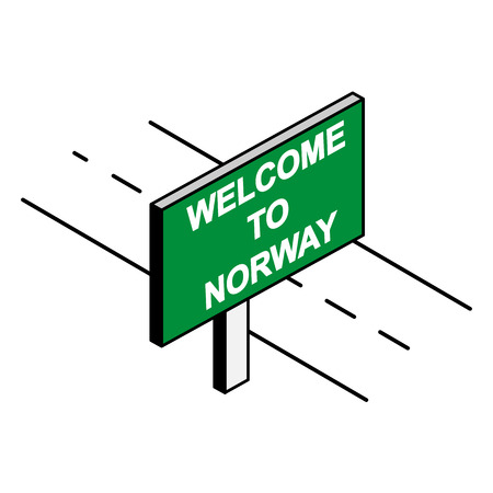 Billboard by the road with the inscription welcome to NORWAY Illustration
