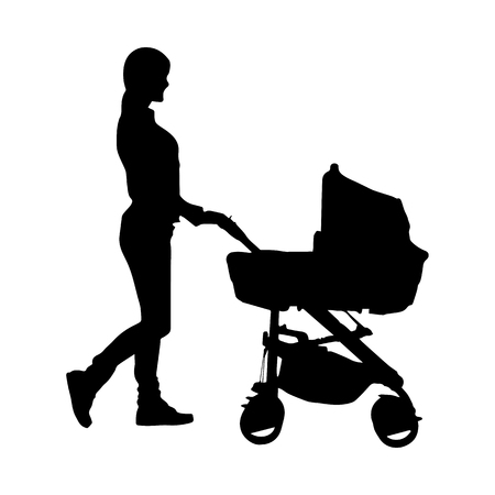 Silhouette of a young woman with a baby stroller, simple pattern Illustration