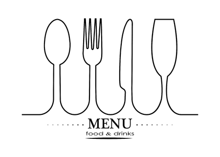 Logo for the decoration of the menu of the restaurant gastroservice or catering Banque d'images - 118407747
