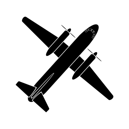 simple image of the twin-engine propeller airplane, air transport