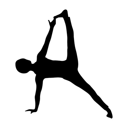 Sports, simple outline silhouette girl gymnasts
