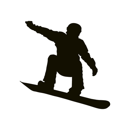 Sport, simple contour silhouette of an athlete on a Snowboard Illustration