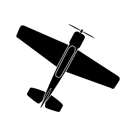 simple drawing of a single-engine propeller airplane Foto de archivo - 124971574