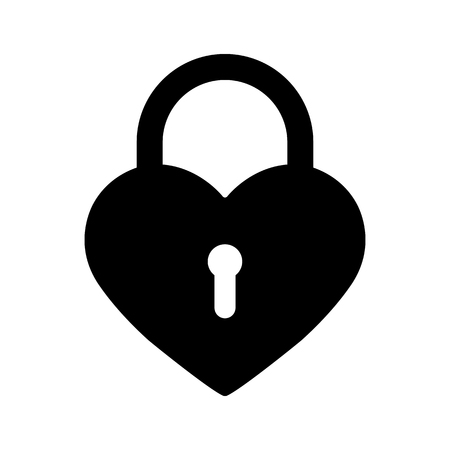 Silhouette of the heart in the form of a closed lock, simple drawing