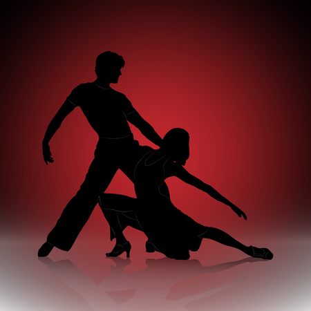 Silhouette of dancing men and women on the background of the red city