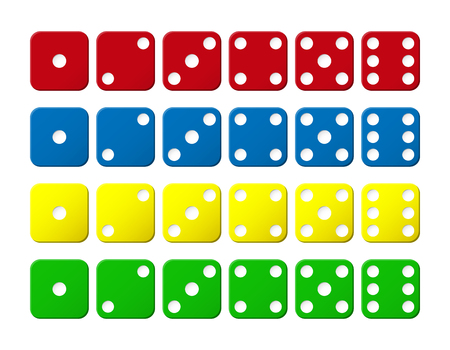 Set of cubes of different colors with points from 1 to 6 向量圖像