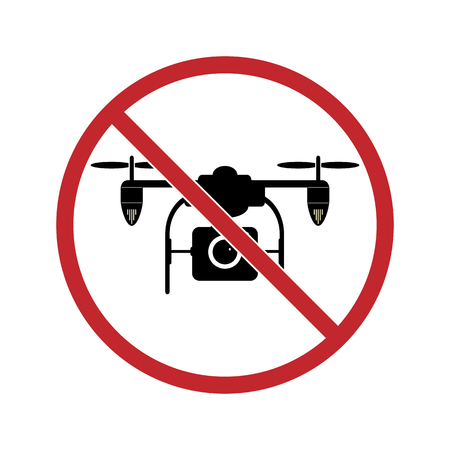 sign prohibits the use of a quadrocopter. A red circle with a crossed-out image of a quadrocopter