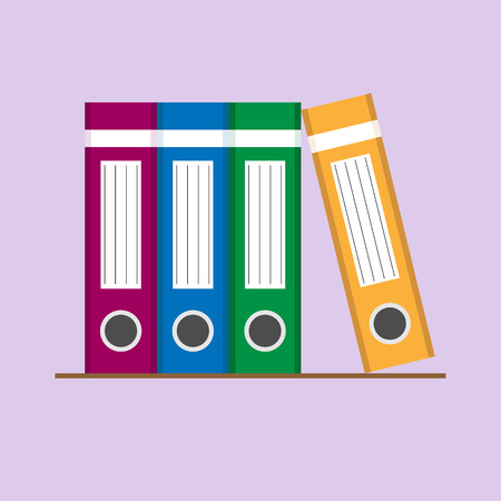 On the shelf are colored stationery folders for documents