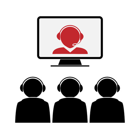 On the screen of the monitor speaker. In front of the screen sat the audience. Vector Illustration