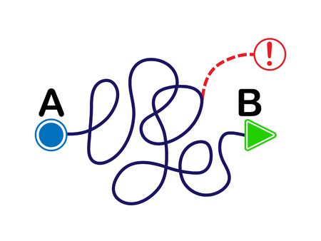 concept of the solution of the problem. Complex curved line by point A and B. Flat design