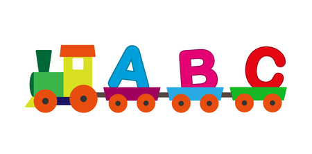 Child paravozik with the letters of the alphabet in freight cars, flat design, color image