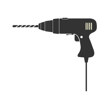 Drill, hand electric tool, simple flat design