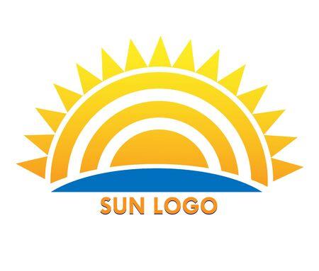 Sun icon, flat design, simple color image