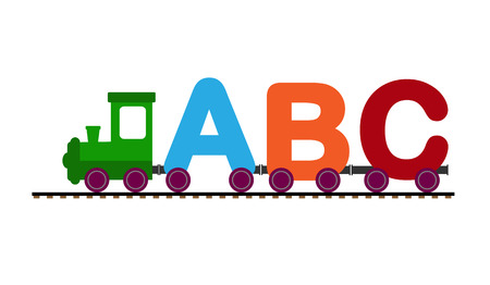 Child parabolic with letters of the alphabet, flat design, color image