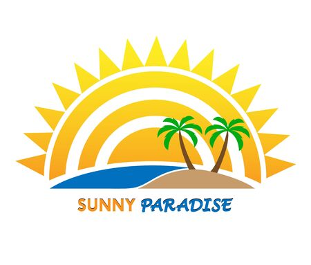 Sun and inscription Sunny Paradise, flat design, color image Stockfoto - 128685377
