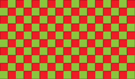 Abstract background of three-dimensional red and green squares, 3D simulation