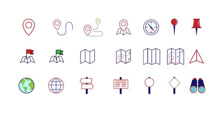 Set of navigation icons, flat style for websites and apps