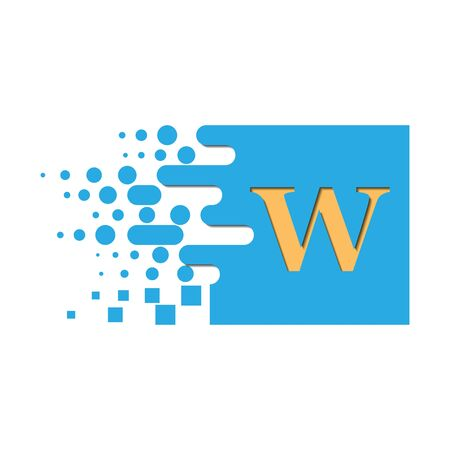 letter W on a colored square with destroyed blocks on a white background